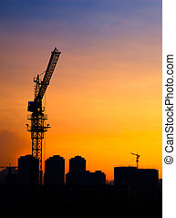 Silhouette of the tower crane