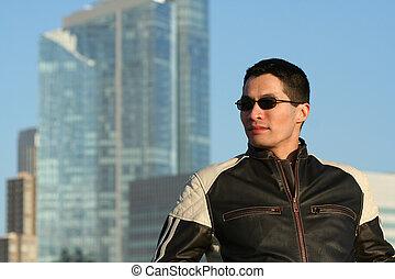 Male Model - Male model in motorcycle jacket
