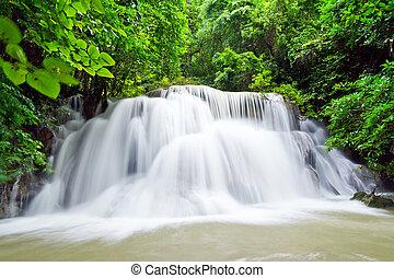 water fall , hua mae kamin level 3 kanchanaburi thailand