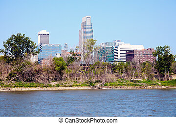 Omaha and the river - Omaha, Nebraska and the river seen in...