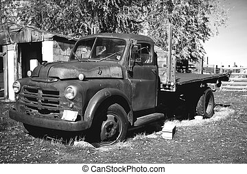 Old truck - Black and White of an old pickup truck