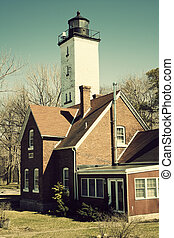 Lighthouse in Erie - Lighthouse in Erie, Pennsylvania. Shore...