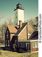 Lighthouse in Erie - Lighthouse in Erie, Pennsylvania. Shore...