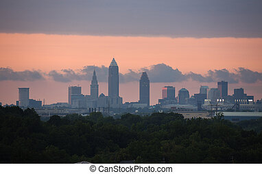 Sunset in Cleveland - distant downtown view at sunset