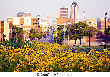 Morning in Des Moines, Iowa Skyline of the city