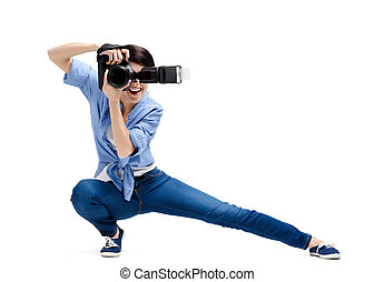 Creative girl-photographer takes snaps - Lady-photographer...
