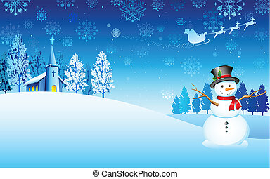 Snowman on Christmas night - illustration of snowman in...