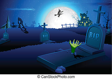 Halloween night in graveyard - illustration of Halloween...