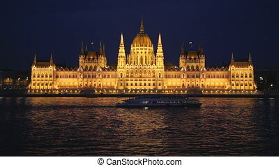 Walking ship floats across Danube by the Hungarian...