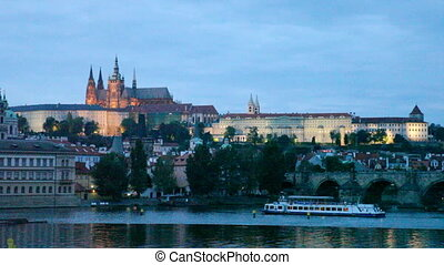 Night view of Prague - river Vltava, Gradchany, St Vituss...
