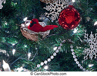 Red Cardinal Bird Christmas Ornamnet in Tree - This red...
