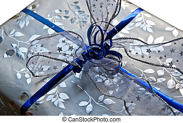 Silver and Blue Wrapped Gift Isolated on White - This is a...