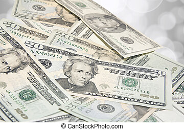 Pile of US Twenty Dollar Bills - Pile of United States of...
