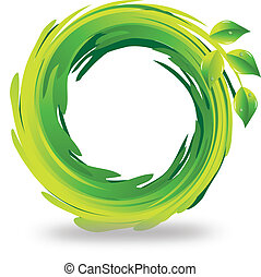 Swirly leafs logo - Swirly green leafs logo vector eps10