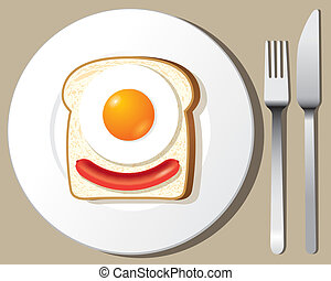 Fried Egg and sausage on Toast