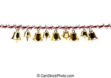 Golden bell holding ribbon rope on white background - Golden...