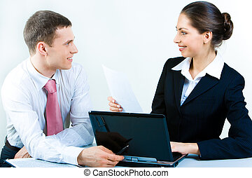 Business discussion - Image of business discussion of a new...