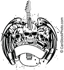 skull punk with guitar - Vector an illustration three skulls...