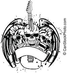 skull punk with guitar - Vector an illustration three skulls...