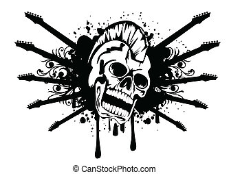 skull with silhouette guitars
