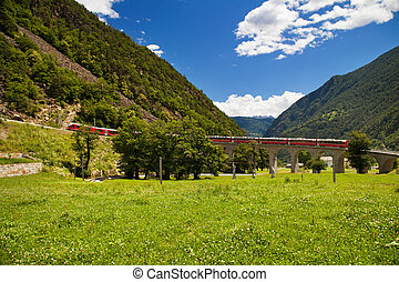 World famous swiss train - Swiss mountain train Bernina...