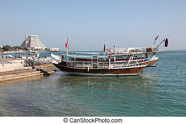 Traditional arabian dhows in Doha, Qatar, Middle East