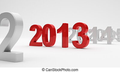 2013 year - 3d illustration of 2013 year on white background...