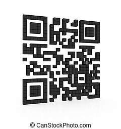 Qr code - 3d illustration of qr code isolated on white...