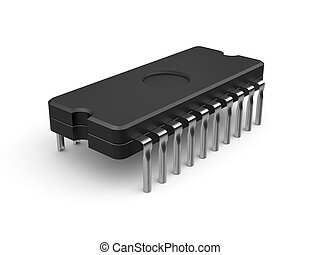 Computer chip - 3d illustration of computer chip isolated on...