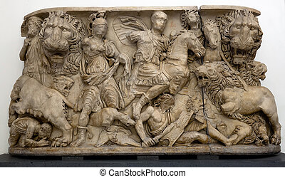 Anceint Roman sarcophagus carved in the ancient Greek style,...