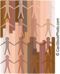 Humanity - a variety of skin tones merged together as a...