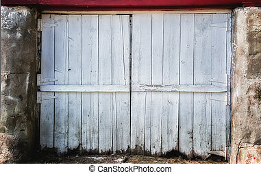 Worn Barn Door Backdrop - Worn White Barn Door Backdrop