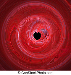 red heart hole in twirl rays background