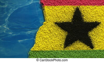 Ghana map - zoom - Ghana, artistic map and flag, zoom out