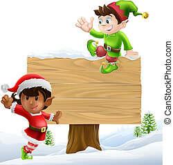 Christmas sign illustration - Cute elves one leaning on and...