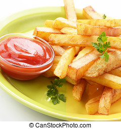 French fries with ketchup