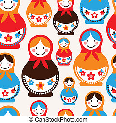 Matreshka doll - seamless vector pattern