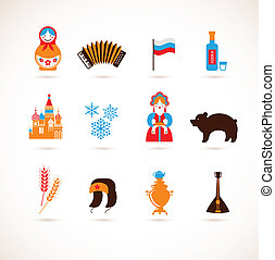 Russia love - heart with vector icons - heart with vector...