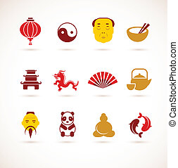 collection of China icons - collection of vector China cons