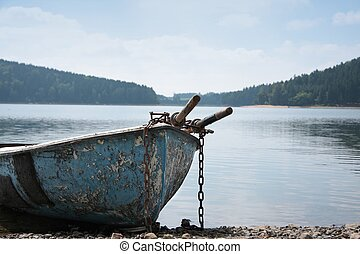 Rowboat - Various rowboat on the summer beach dam