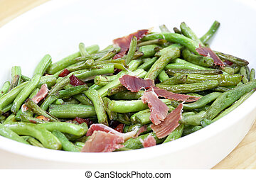 fried green beans with ham - Salad - fried green beans with...