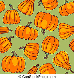 Pumpkin seamless pattern. Cartoon vector background.