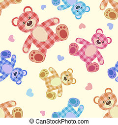 Seamless bear light patchwork pattern. Vector cartoon...