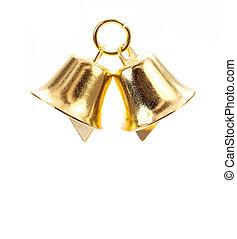 Golden bell on white background - Golden bell isolate on...