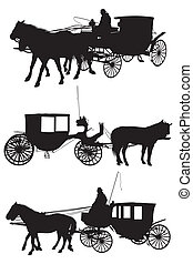 Horse and carriage silhouette - Vector Silhouette of a Horse...