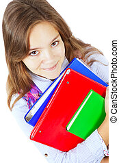smiling girl holding books isolated over white