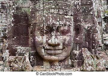 Bayon temple in cambodia, detailed view of face