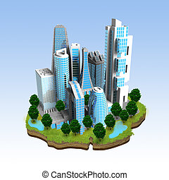 Modern City Miniature Concept - Miniature model of a modern...