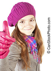 girl showing thumbs up over white