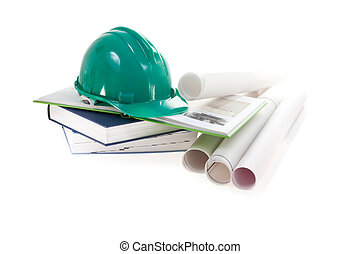 builder's helmet, books and scheme on white background